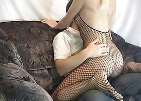 Sexy blonde wearing bodystocking takes a ride on her BF's wang