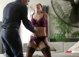 Busty wife Alix Lovell in stockings blindfolded by her hubby and fucked