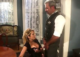 Mature old man is lucky to get under Jessika Drake's skirt