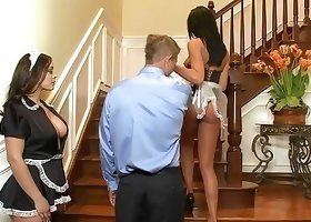 Black corset brunette maid getting fucked form behind