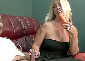 Tattooed blonde milf Joclyn Stone gets her hairy pussy fucked