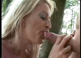 Dutch blond mother i'd like to fuck facial in a forest