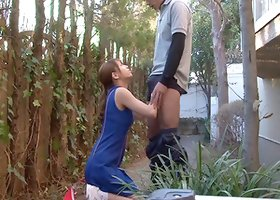 What an excellent outdoors scene as this marvelous Asian bitch blows and swallows cum