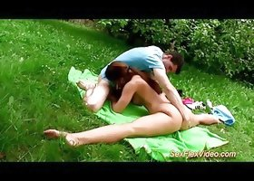 flexible gymnast Teen loves Kamasutra sex in nature