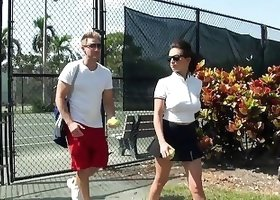 Guy picks up two tennis-playing hotties