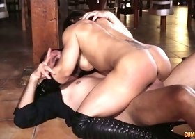 Female bodybuilder Karyn sucks dick and rides it like a sex-hungry whore