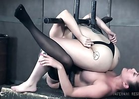 Huge breasted Nadia White has to lick pussy of handcuffed flexible slut