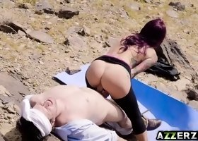 Redhead MILF Monique Alexander bangs in the desert