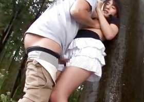 Winning and young asian  is having sex in the forest