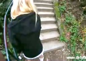 Raunchy blonde nympho Helen has no problem giving head in public