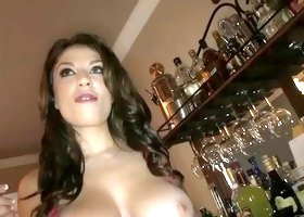 Pierced babe with sweet melons is getting drilled hard