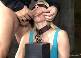 Blonde slut Anikka Albrite has a bdsm fetish threesome fuck