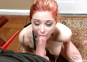 Cute Redhead Learns To Suck It With Obedience