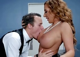Cougar Richelle Ryan fuck a hot young waiter for her bday