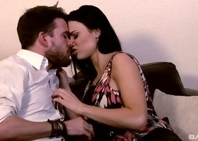 Dark-haired floozy Jasmine Jae has her cunt explored with a rod
