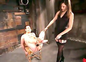 Femdom with Bobbi Starr Pegging and Torturing Cock