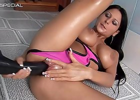 Big Boobed Brunette Isabella Chrystin Masturbates with a Huge Dildo