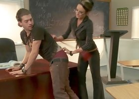 Hot teacher in stockings Alektra Blue makes blowjob