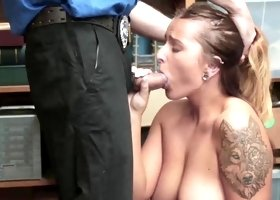 Chubby shoplifter Dakota Rain is bend over & drilled hard by the police