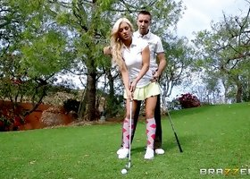 Girl gets a golf lesson and big cock hardcore sex outdoors