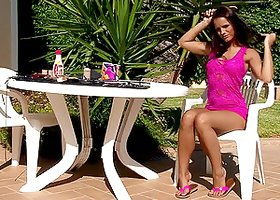 Tempting titillation with this Latina on the backyard is hot.