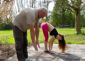 A workout in the park ends with her fucking an older guy