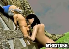 Mouth watering 3D cartoon Snow White sucks cock and gets fucked outdoors by one of the dwarves