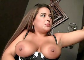 Busty brunette Penelope Piper enjoys sucking a massive dick