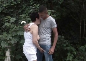 Lustful granny engages in a wild romance with a young guy by the lake