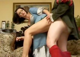 Brunette milf Cameron Cruise, wearing a medieval dress, gets fucked hard