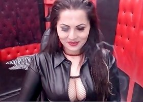 Dark haired dominant smoking hot webcam MILF was talking dirty to my buddy