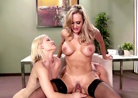 Two hot ladies are competing for a dick in the office room scene