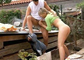 Classy teen in denim shorts gives nice blowjob to her neighbor
