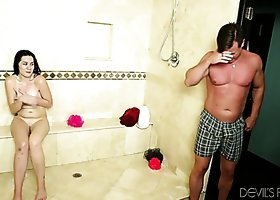 Alluring brunette babe Lacey Lay fucks horny Eric Masterson in the shower