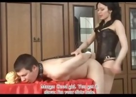 Hot russian mistress dominates man slave s asshole