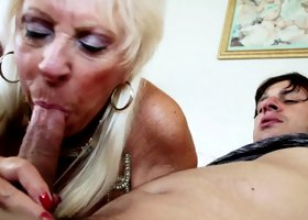 Old lady in stockings likes the hard pounding he gives her