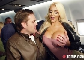 Aletta Ocean and Nicolette Shea enjoy big cocks on an airplane