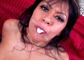 Dark-haired babe Gabby Quinteros is swallowing cum