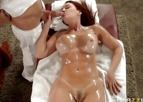 Oiled Goddess Rubbed And Fed With A Cock