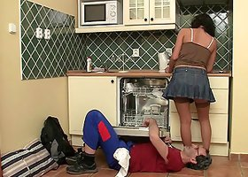 Brunette tart Jenny enjoys upskirt banging with a plumber