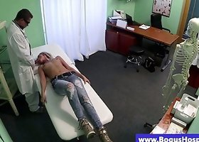 Real blonde sucking fake doctors dick