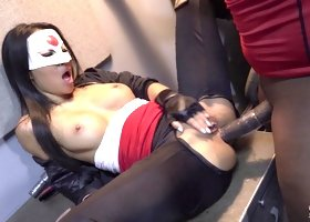 Asian superhero Asa Akira spreads legs for the massive black dick
