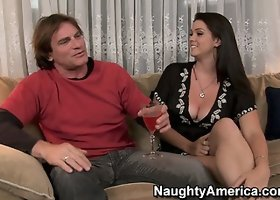 Slutty brunette Alison Tyler seduces him with a glass of wine and a blowjob