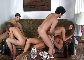 All holes are filled in an orgy scene with sexy Euro girls