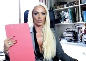 Blonde office boss Lucy Zara in little panties and nylons