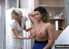 My busty wife comes to her female gyno doctor