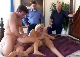 Two dicks make a blonde moan during a cuckold game