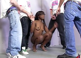 Slim Black girl in glasses gets blowbanged and fucked by Whites