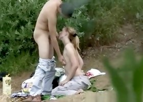 Couple caught fucking in the nature