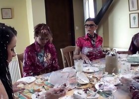 Messy food fetish group sex video with Jenna Lovely and others